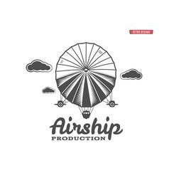 Vintage airship logo retro dirigible balloon vector