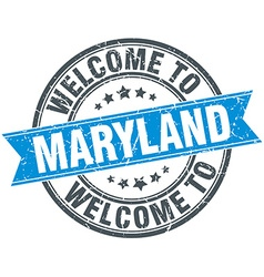 Welcome to maryland blue round vintage stamp vector