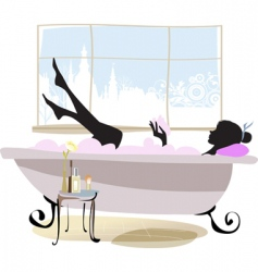 woman in bathtub vector image