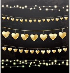 Garlands with golden hearts vector