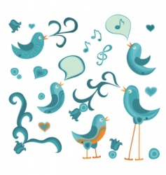 Tweeting birds vector