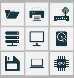 Notebook icons set collection of motherboard vector
