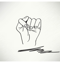 Fig fico hand sign detailed black and white lines vector