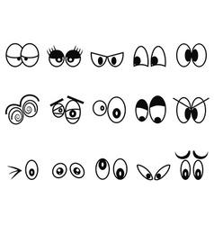 cartoon Expressional eyes icon set vector image