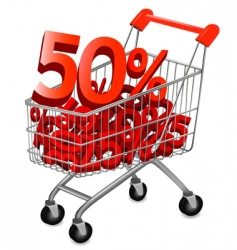 Shopping cart discount vector