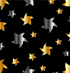Gold and silver stars against black background vector image