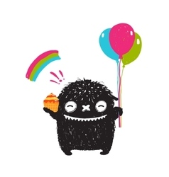 Funny happy cute little black monster with sweets vector