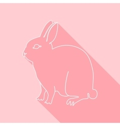 Icon contour rabbit flat style long shadows vector