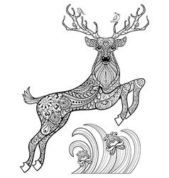 Hand drawn magic horned deer with birds in the vector
