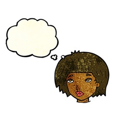 Cartoon bored looking woman with thought bubble vector