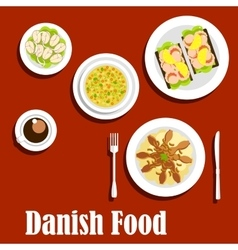 Traditional dinner of danish cuisine vector