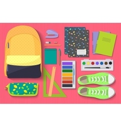 School items set on bright background learn and vector