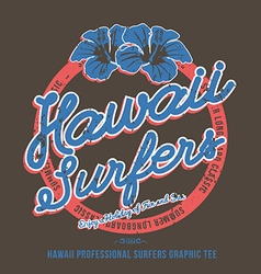 Surfing t-shirt print hibiscus flower vector