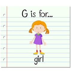 Flashcard letter g is for girl vector