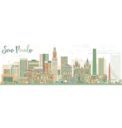 Abstract Sao Paulo Skyline with Color Buildings vector image