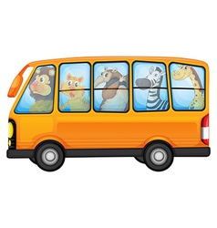 Animals and school bus vector image vector image