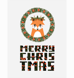 avatar cute fox with a christmas wreath vector image vector image