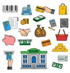 Banking money and retail icons vector