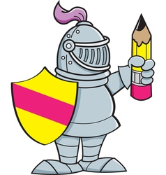 Cartoon knight holding a shield and a pencil vector