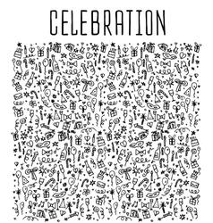 Celebration happy birthday doodles elements vector image