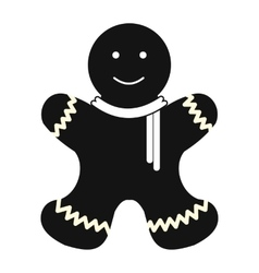 Christmas gingerbread man simple icon vector image vector image