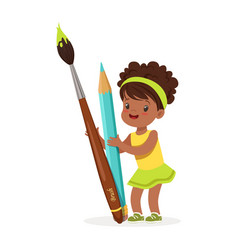 cute black little girl holding giant light blue vector image