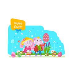 Cute bunnies with an easter basket eggs in hand vector