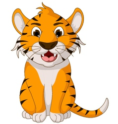 cute tiger cartoon sitting vector image vector image