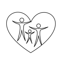 Family healthy heart isolated icon design vector