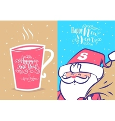 Funny new year set christmas greeting card vector