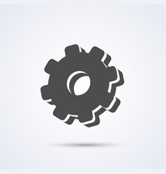 Gear flat black icon sign white background vector