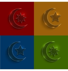 Glass ramadan icons set vector