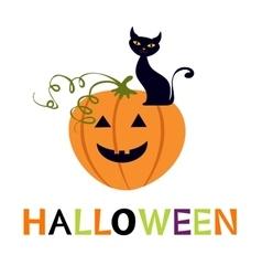 Halloween card with cuteblack cat and pumpkin vector image vector image