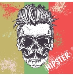 Hipster skull of human vector image vector image