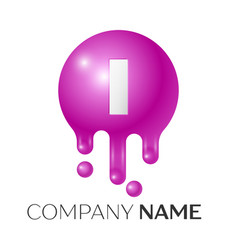 I letter splash logo purple dots and bubbles vector
