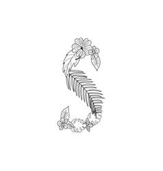 letter s floral ornament vector image
