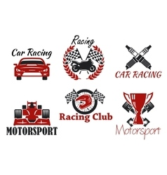 Motorsport and racing sport icons vector