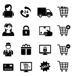 online shopping and e-commerce icons vector image