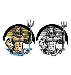 poseidon god in classic pen style vector image vector image