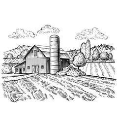 Rural landscape farm barn and windmill sketch vector