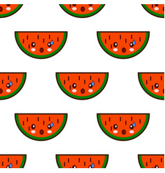 seamless pattern with watermelon cute fruit kawaii vector image vector image