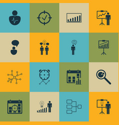 Set of 16 management icons includes system vector