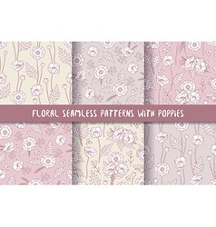 Set of seamless patterns with poppies bohemian vector