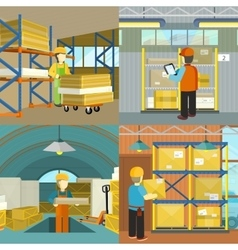 Set of warehouse workers characters at work vector image