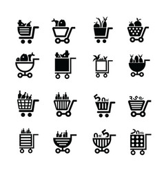 Shopping cart icons food and number vector