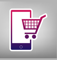 shopping on smart phone sign purple vector image vector image
