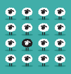 single black sheep in white sheep group animal vector image vector image