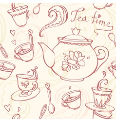 Teatime seamless pattern with teapot and mugs vector