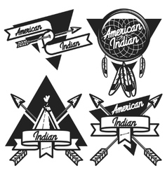 Vintage american indian emblems vector