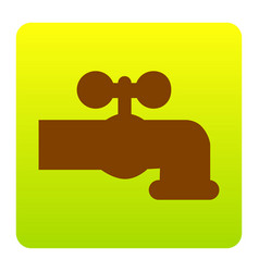 water faucet sign brown icon vector image vector image
